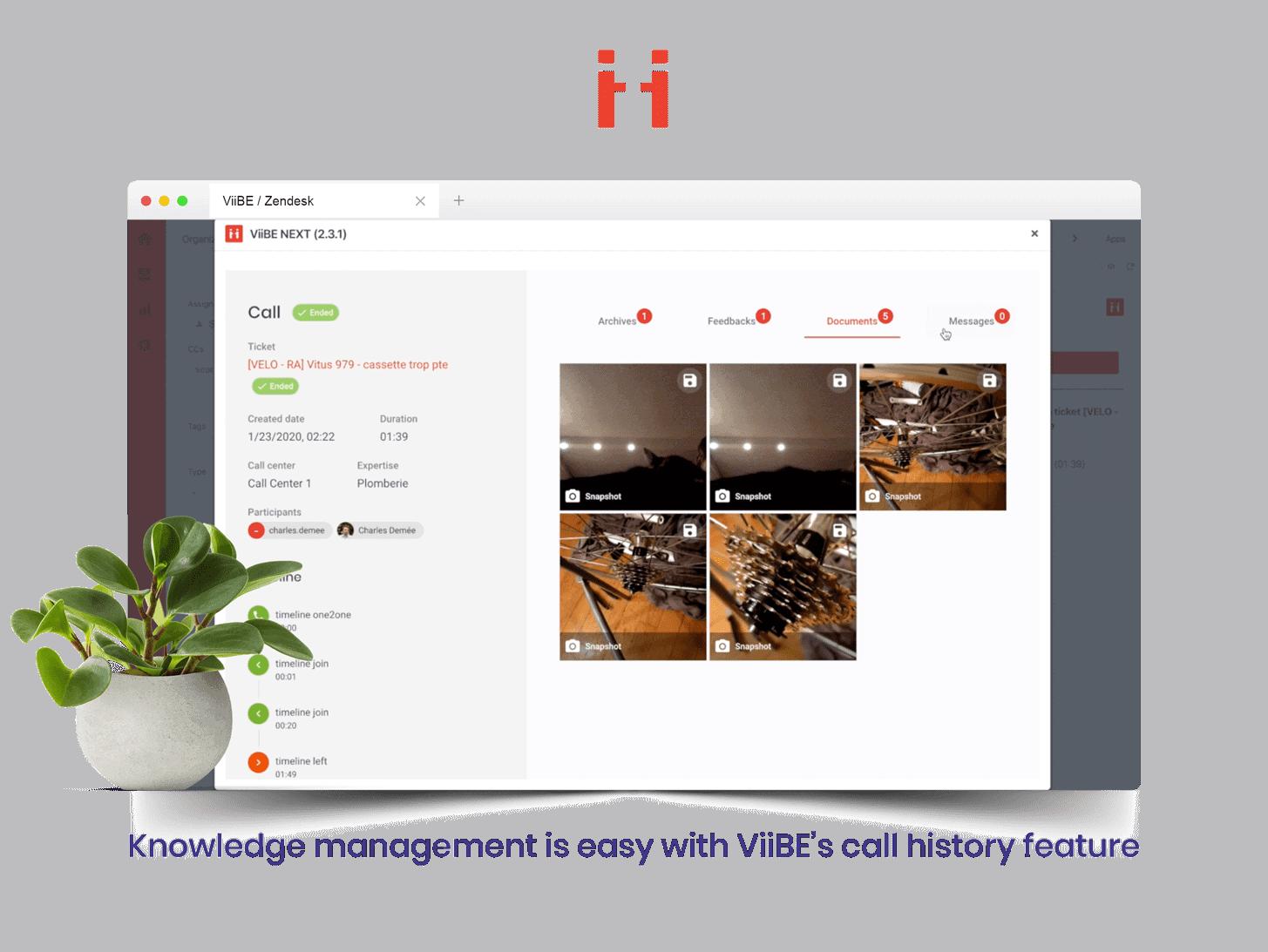 ViiBE ticket interface in Zendesk